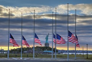 Flags at half staff remembering 9-11-2001 NYC
