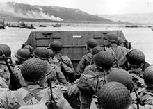 Soldiers approaching Omaha Beach on D-Day