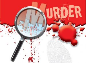 A magnifying glass and the word murder