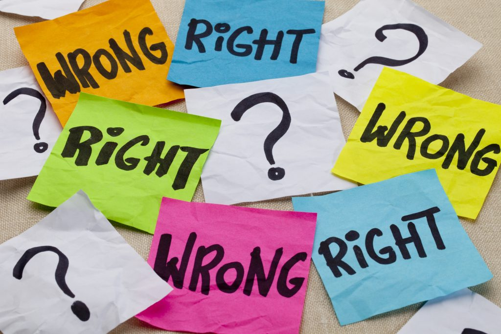 "sticky notes that say ""right"" or ""wrong"""