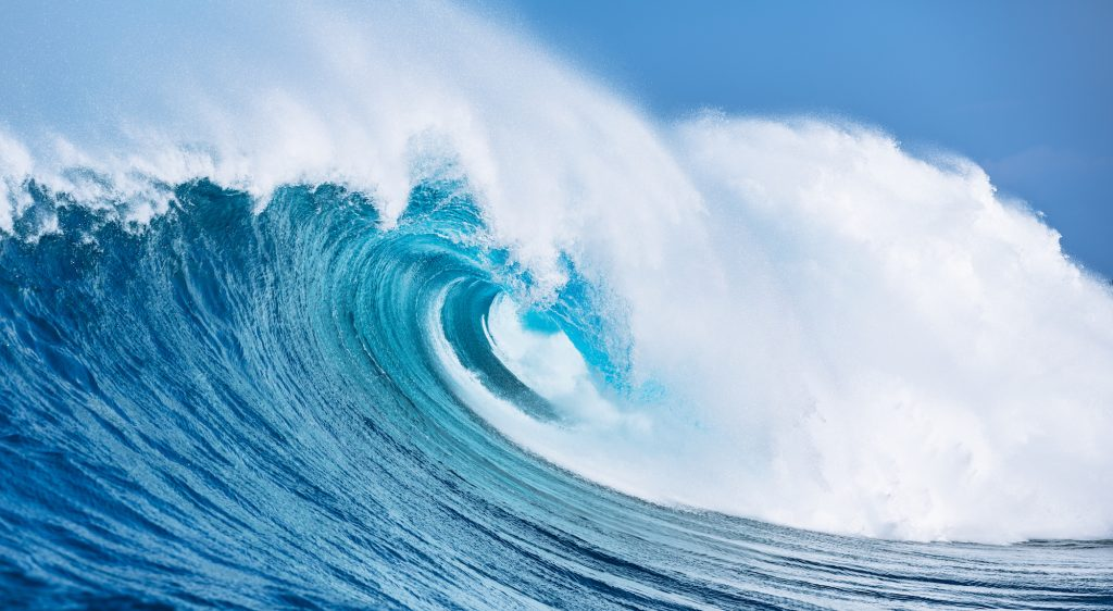 a large, powerful ocean wave