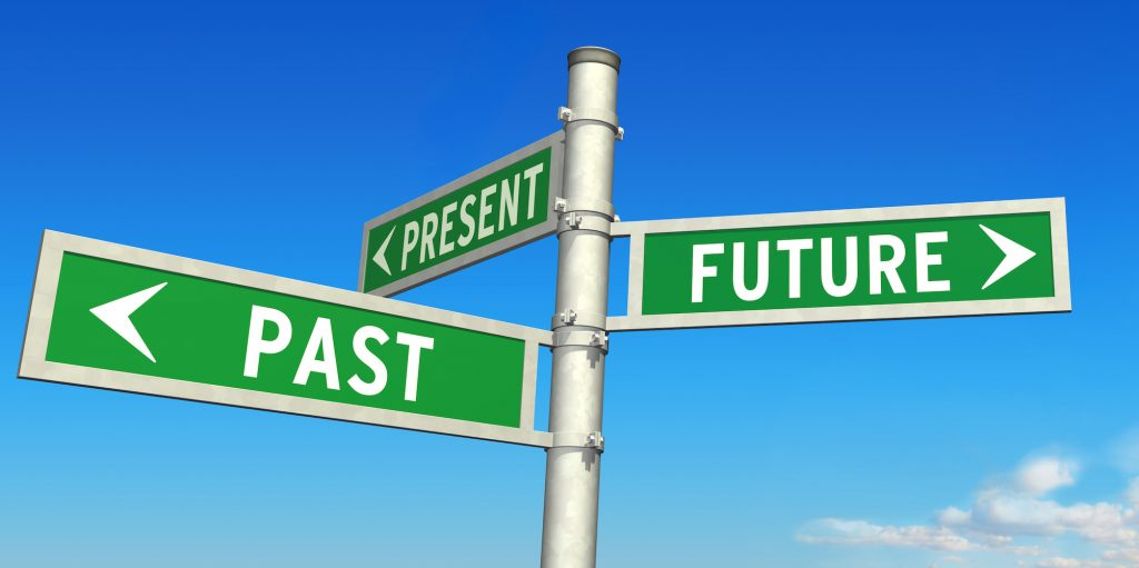 a sign pointing to the past, the present, and the future