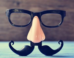 a fake mustache, nose and eyeglasses