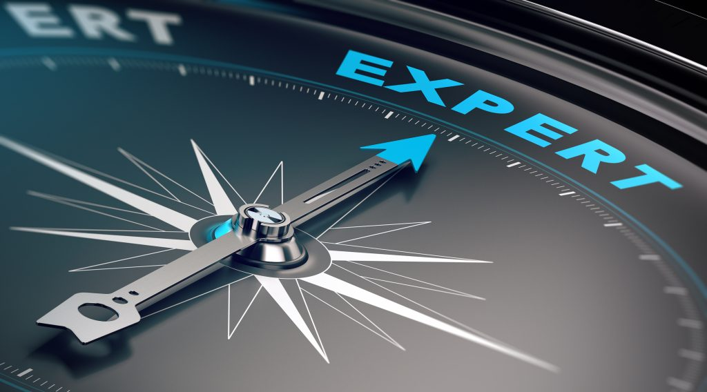 Compass with needle pointing the word expert,