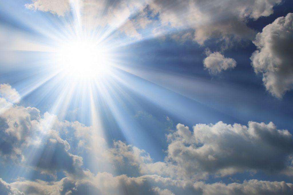 The sun shining in the sky