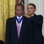 Actor Sidney Poitier received the Presidential Medal of Freedom from President Barack Obama in 2009.