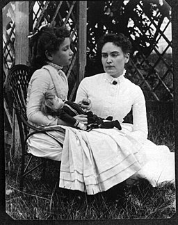 Helen Keller, age 8, with teacher Annie Sullivan