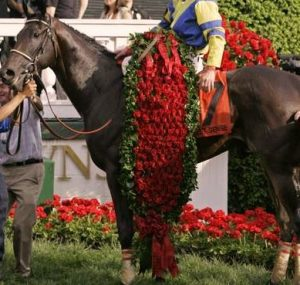 A Kentucky Derby winner wearing roses