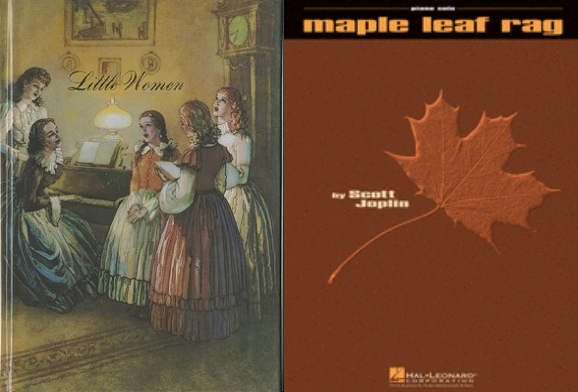 The covers of Little Women and the Maple Leaf Rag